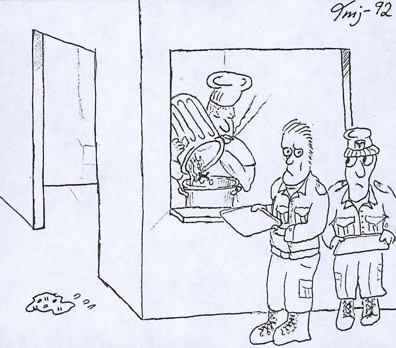 Servering. Tegning av en kokk og to personer som venter på servering.