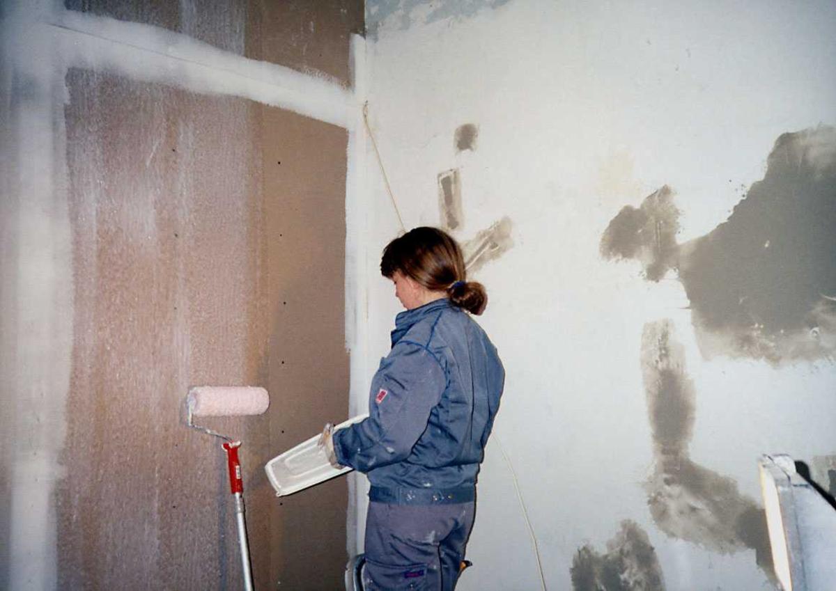 Portrett. En person jobber med vedlikeholdsarbeid, maling.