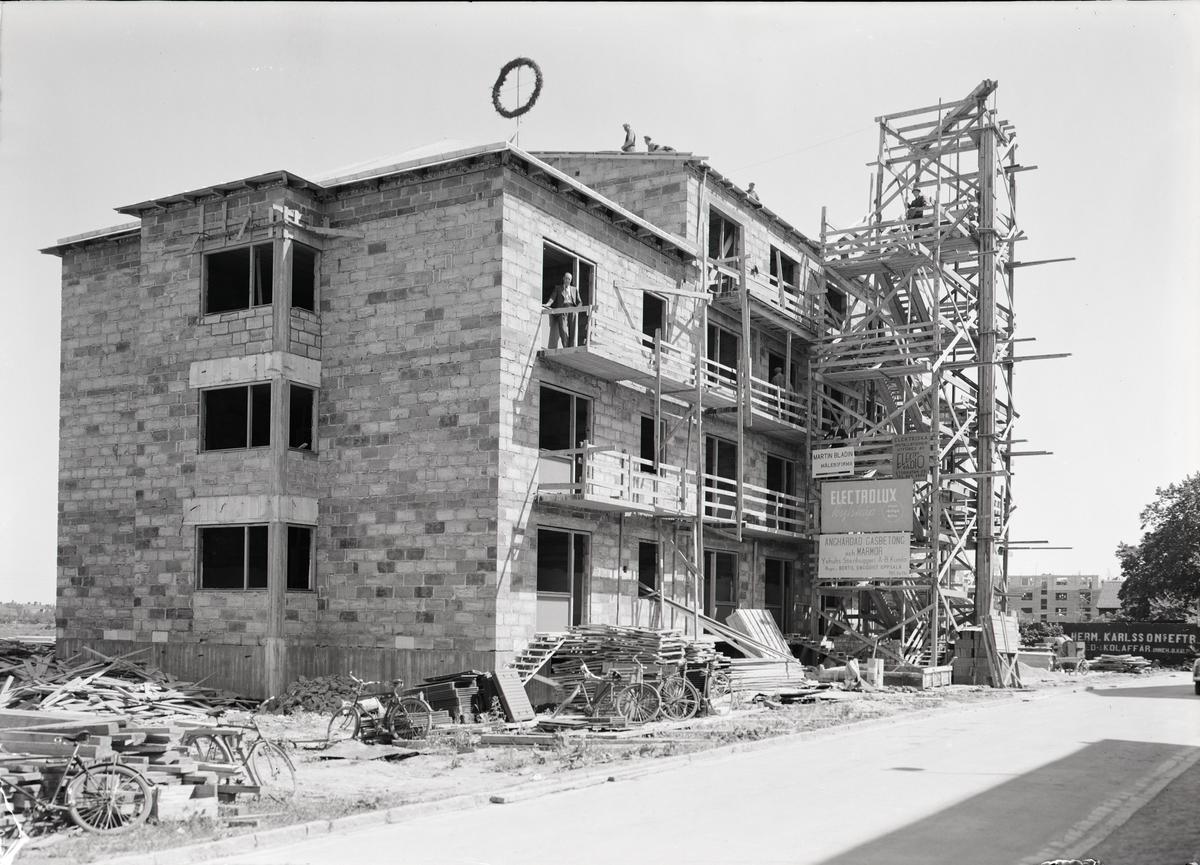 Flerbostadshus under uppförande, Uppsala 1939