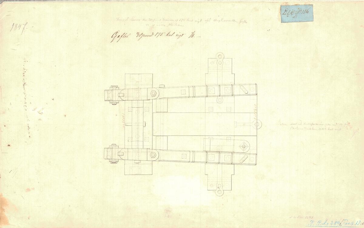 4 st ritningar till kursörlavett till 50 pundig kanon av 175 kulors vikt, för ångkorvetten Gefle.