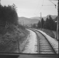Fra Hardangerbana. Utsikt fra førerrommet på motorvogn type