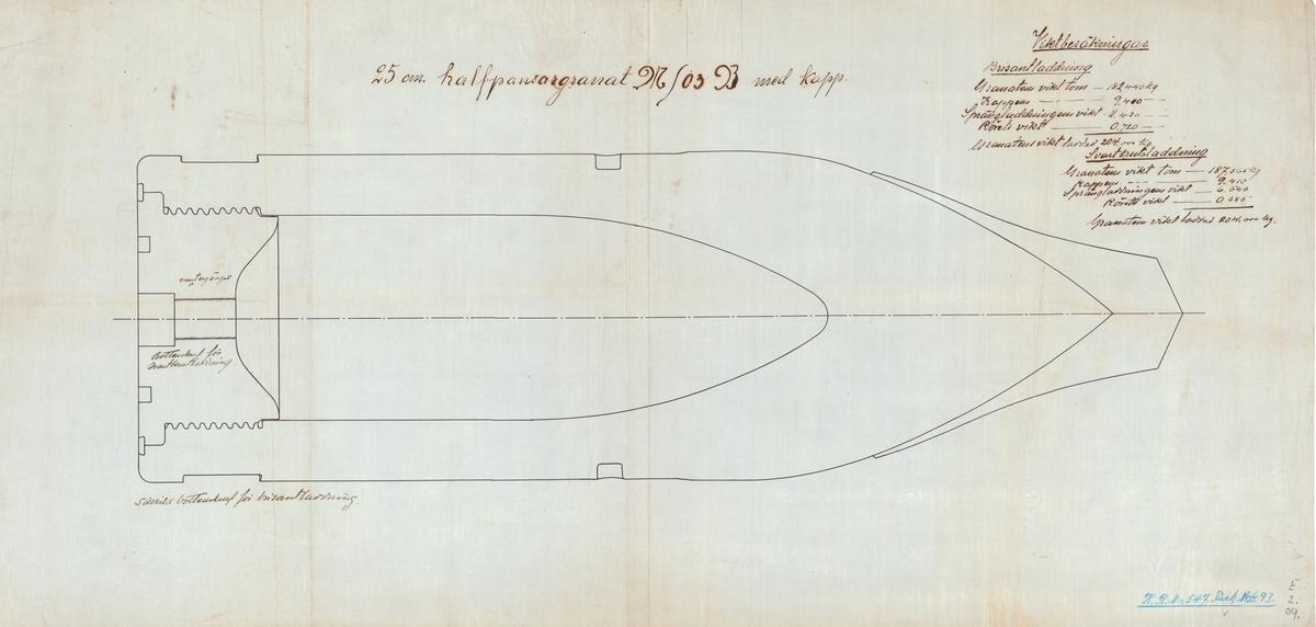 25 cm halvpansargranat M/03 B med kapp
