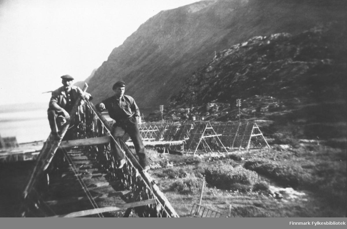 To menn oppe på fiskehjell. Fullt av fisk på hjellene. Bakerst på bildet noen boliger, bak dem fjell.