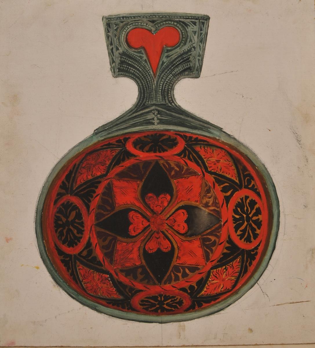 Kopi av rosemåling på ei ølause frå 1749.