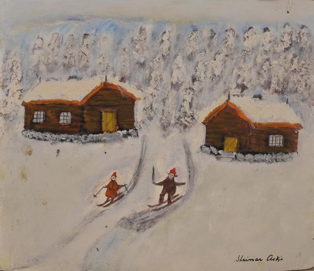 Vinterlandskap, to tømmerhus, to personar som renner på ski.