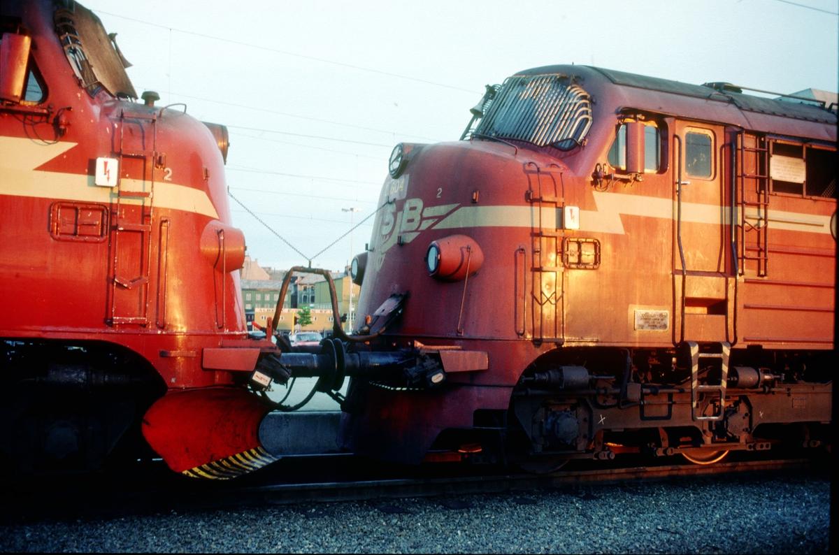 """Snutene på to dieselelktriske lokomotiver, NSB type Di 3, i nattog til Bodø på Trondheim stasjon. Lokomotivene er koblet i fellesstyring, populært kalt """"multippel"""" etter det engelske """"multiple units"""". Det vil si at begge lokomotivene kan betjenes fra en førerplass. Multippel-kabelen med ledninger for div. manøverstrøm henger i wire mellom lokomotivene."""