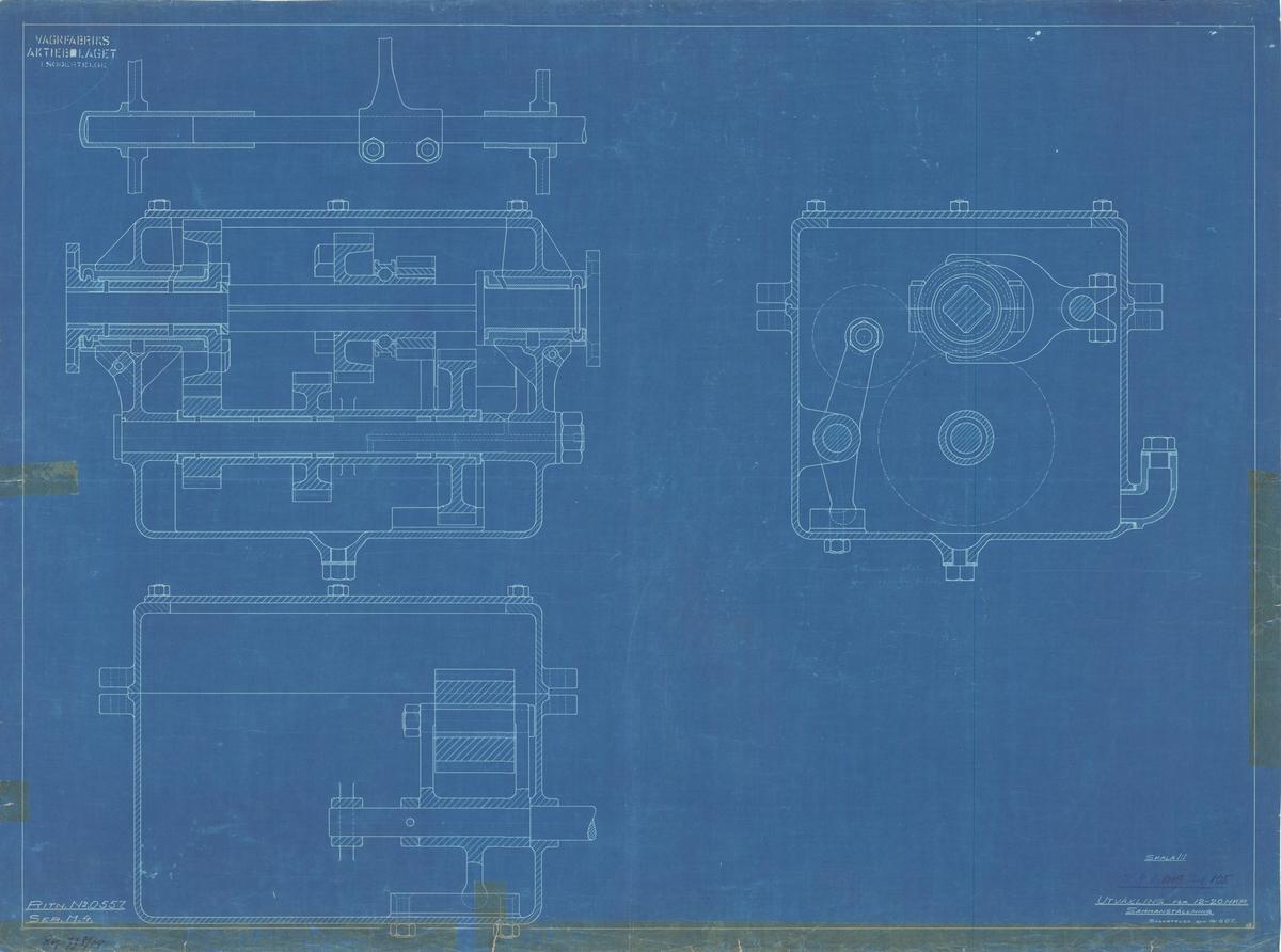 Sammanställningsritning på utväxling för 12-20 hkr motor.