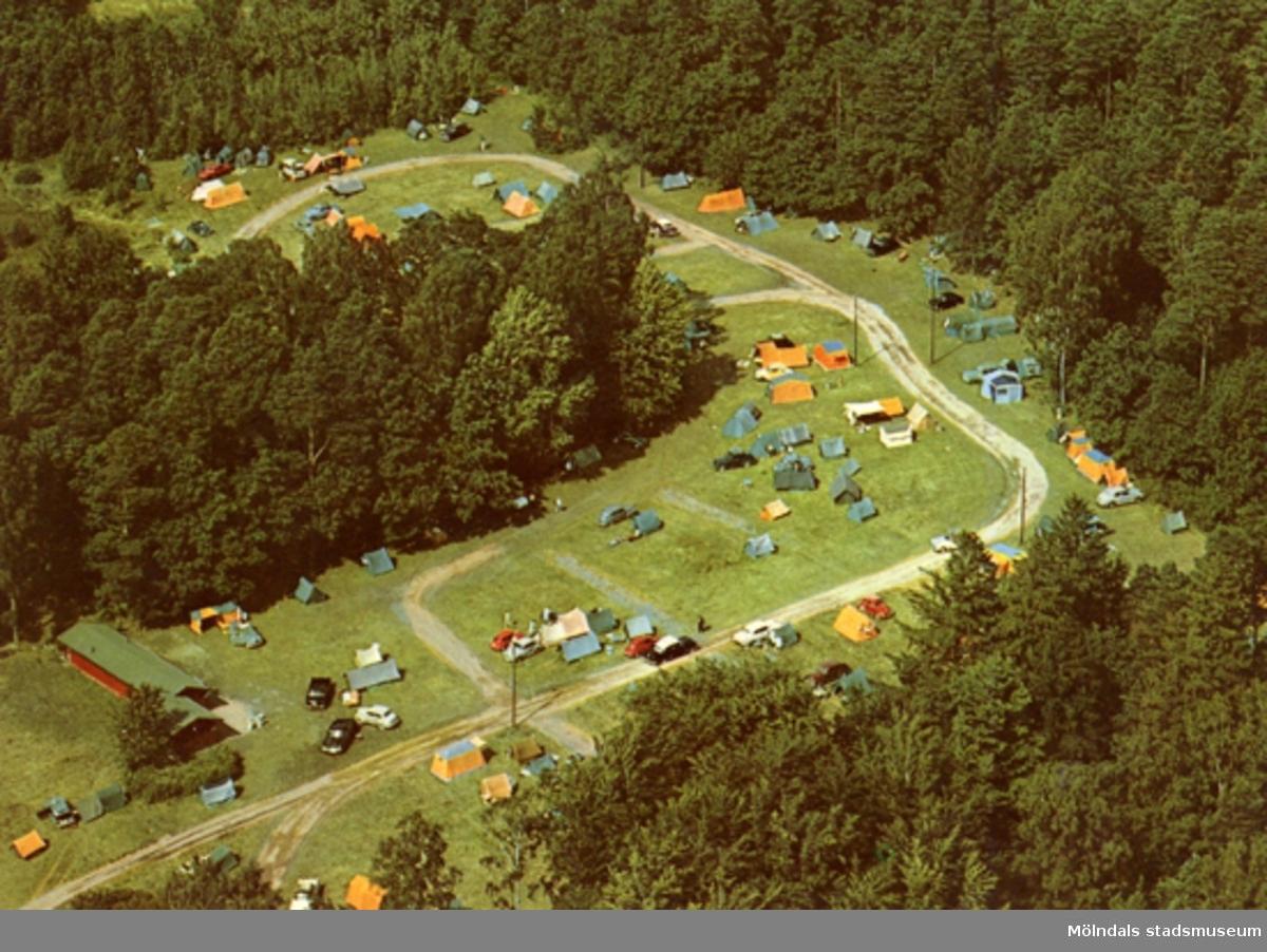 Vykort över Mölndal stads Campingplats Lackarebäck.