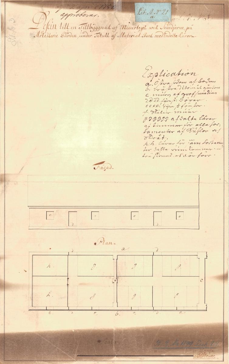 Tillbyggnad på smedjor Dessein till en tillbyggnad av murtegel vid smedjorna på artillerigården. Fasad- och planritning