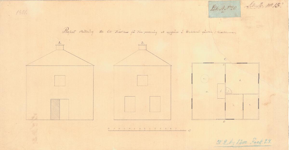 Projektritning till ett kasthus för krutprobering att uppföras å artillerigården i Karlskrona. Fasad- och planritning