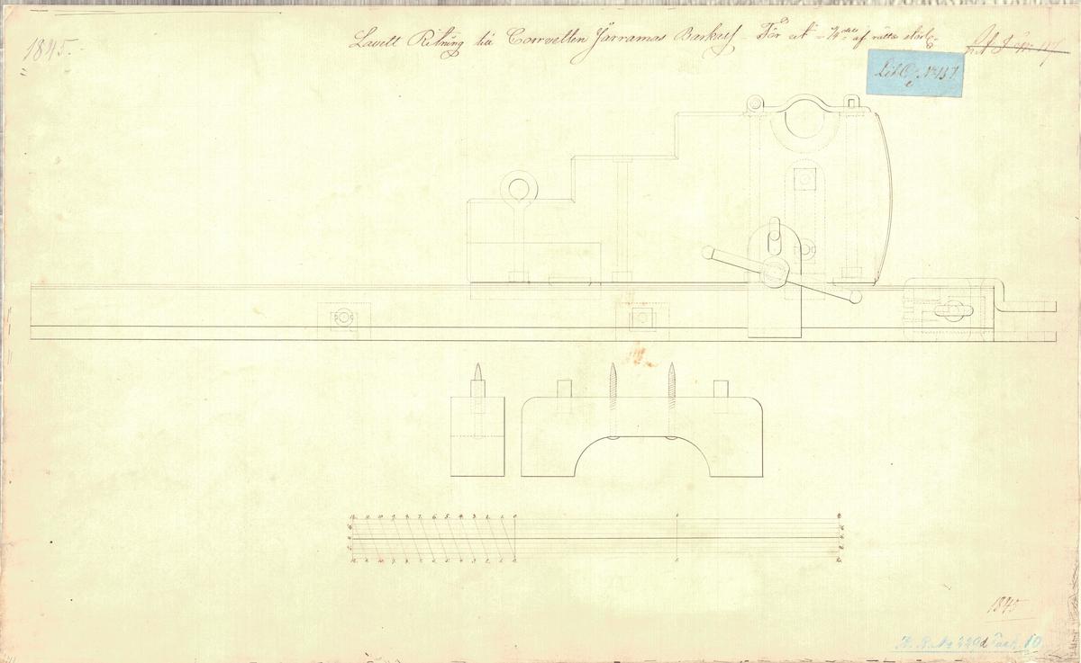 4 st ritningar på lavett till korvetten Jarramas barkass