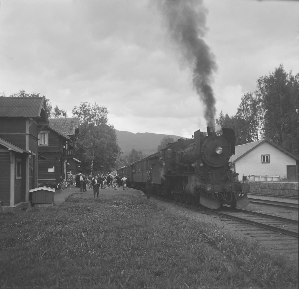 A/L Hølandsbanens veterantog Eina-Skreia-Eina på Skreia stasjon. Damplok type 30b 347.