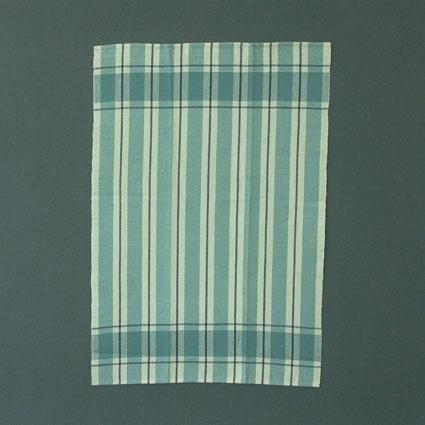 Handduk vävd i kypert med bomullsgarn i varp och lingarn i inslag.