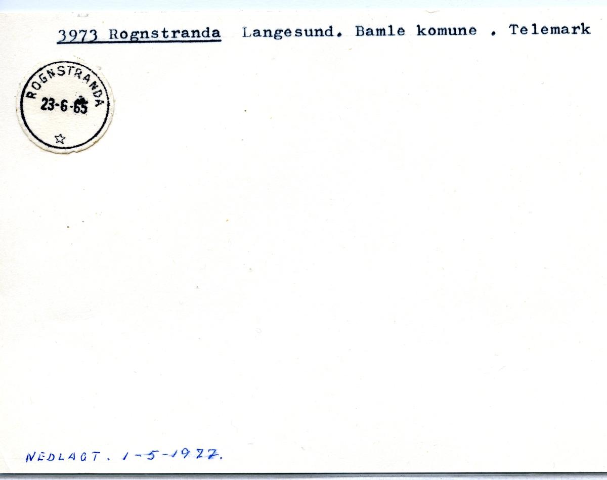 Stempelkatalog 3973 Rognstranda, Langesund, Bamle, Telemark