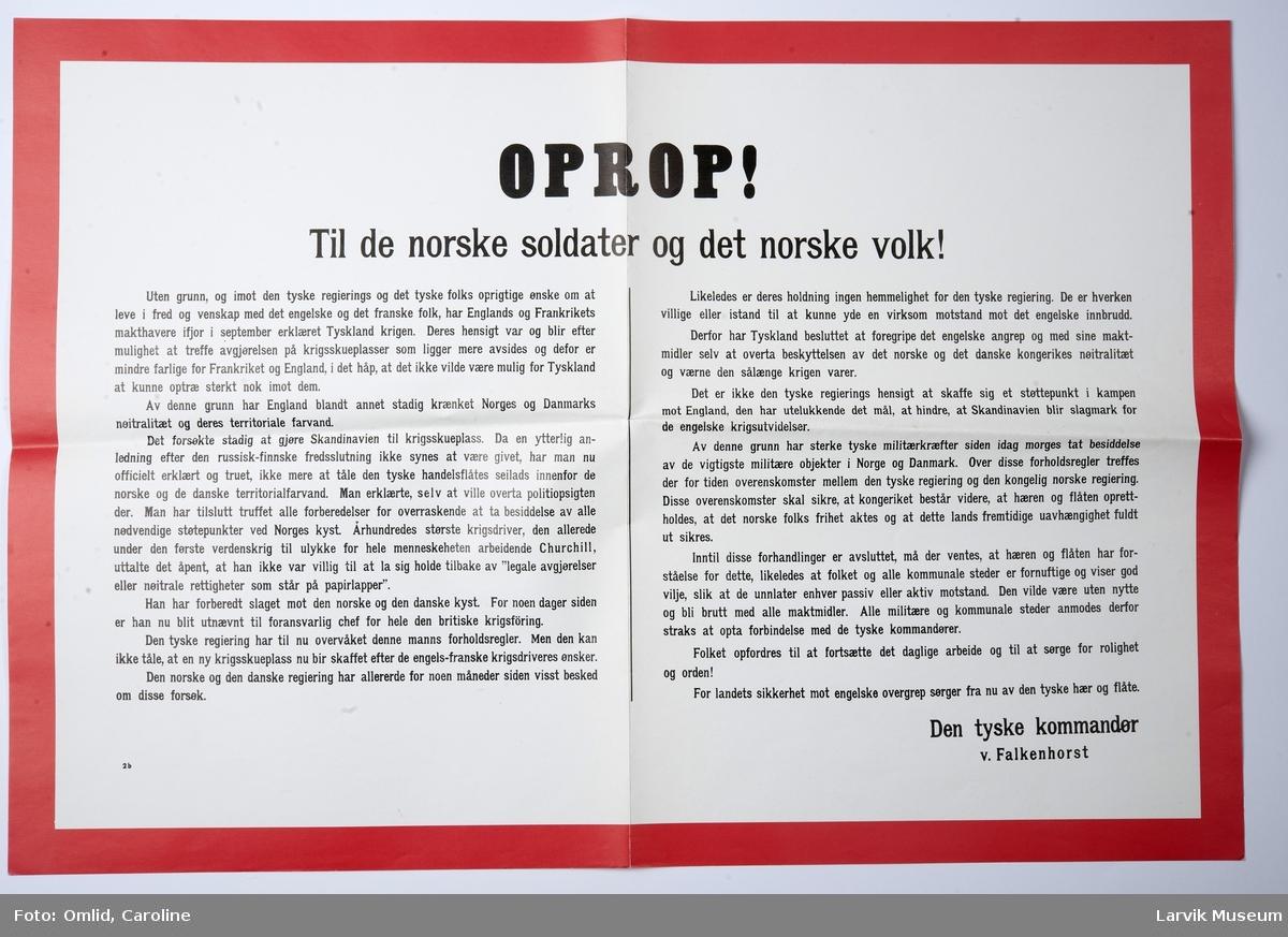 Tekst - Oprop - til de norske soldater og det norske volk! Fra: Den tyske kommandør v. Falkenhorst