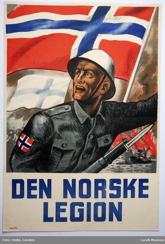 Norsk soldat med våpen og et fortvilet ansiktsuttrykk flammer og skyggen av soldater i bakgunn. et norsk flagg er høyt hevet også et mindre finsk flagg. Tekst