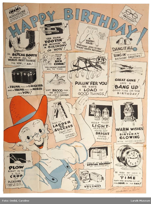 Stort ark med trykte, humoristiske tegninger.