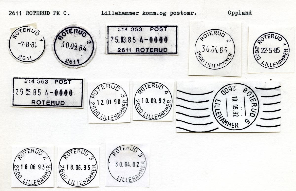Stempelkatalog 2611 Roterud, Lillehammer, Oppland