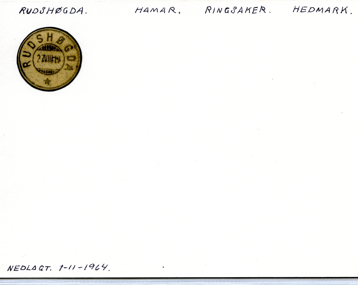 Stempelkatalog 2360 Rudshøgda (Ringsager, Ringsaker, Tande), Ringsaker, Hedmark