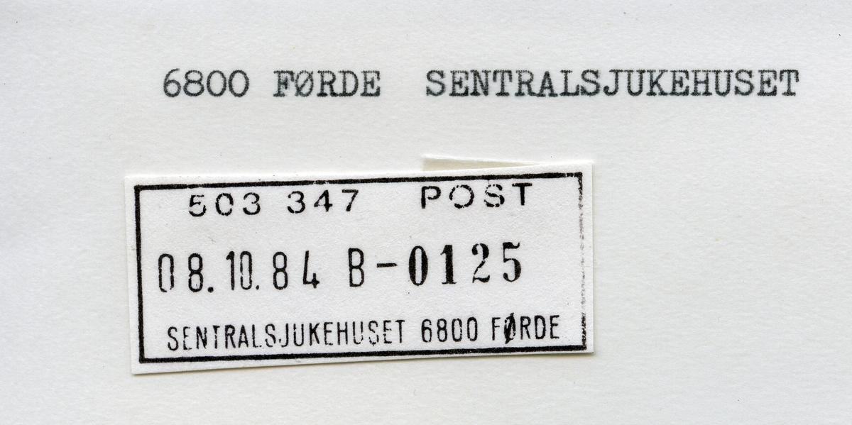Stempelkatalog  Sentralsjukehuset Førde, Førde kommune, Sogn og Fjordane