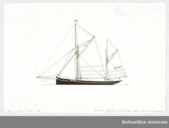 Montering/ram: Passepartout av tunn grå kartong; 55 x 66 cm, Seglande fiskekutter, trawlare, från Englands ostkust, Brixham 67, Home Security. Övrig historik se UM72.26.001.