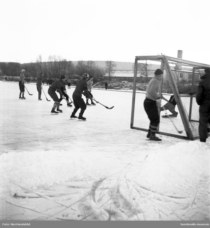 Vänskapsmatch i bandy mellan de två lagen i sta´n, Selånger och Heffners.