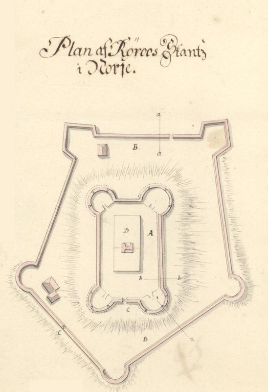Røros skanse var i prinsippet en festning med to murer, en øvre og en nedre. Den øvre ble bygget med fire avrundete bastioner (utspring), forbundet med kurtiner (forbindelsesmurer mellom bastionene). Den nederste bestod av en femkantet bastion, tre avrundete og to pileformede bastioner.