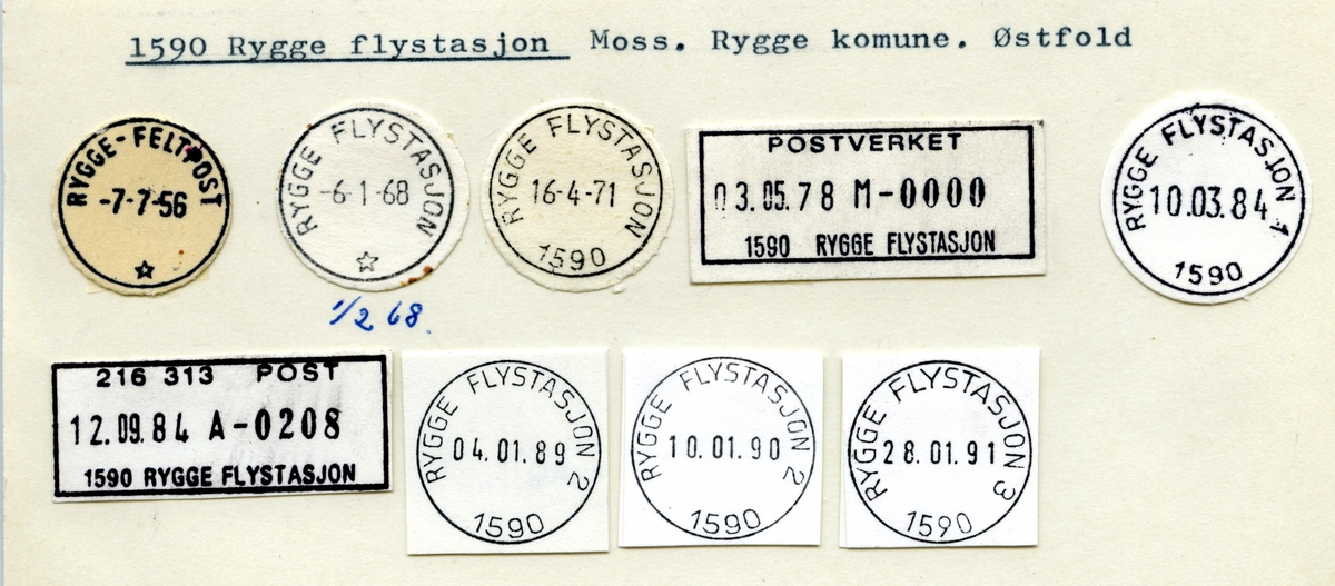 Stempelkatalog 1590 Rygge flystasjon (Rygge feltpost), Rygge, Østfold