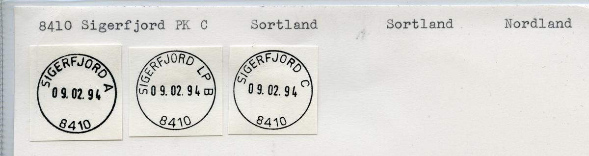 Stempelkatalog  8410 Sigerfjord, Sortland kommune,Nordland