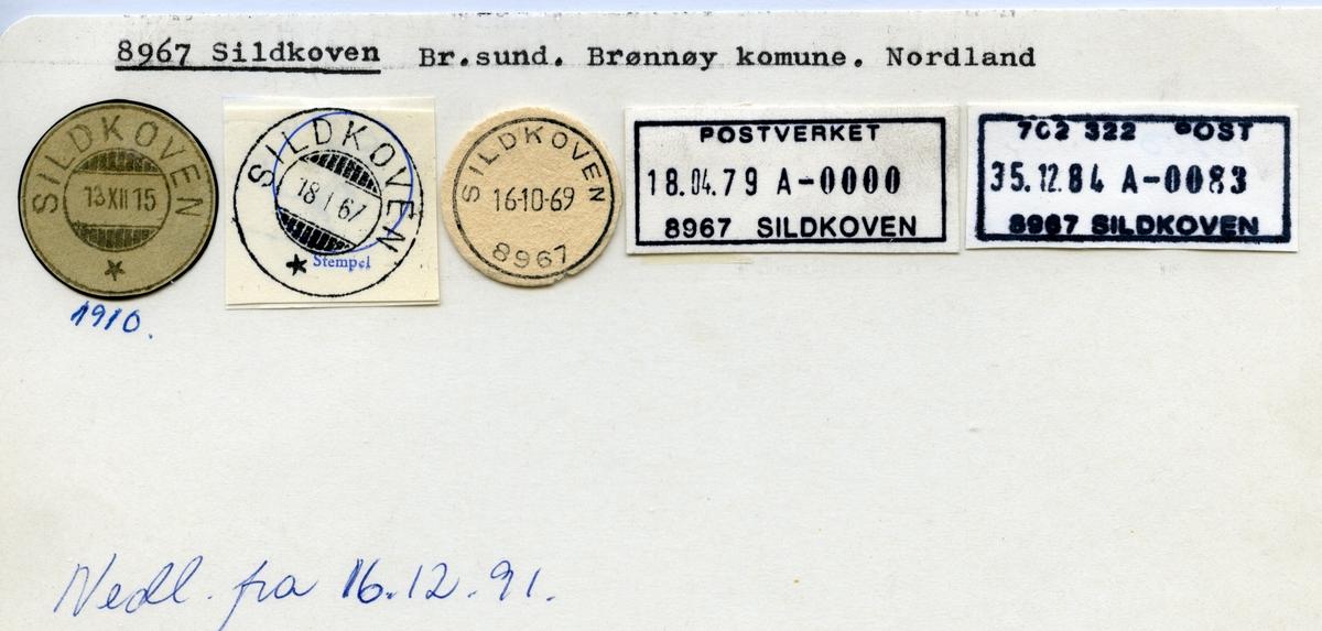 Stempelkatalog  8967 Sildkoven, Brønnøy kommune, Nordland