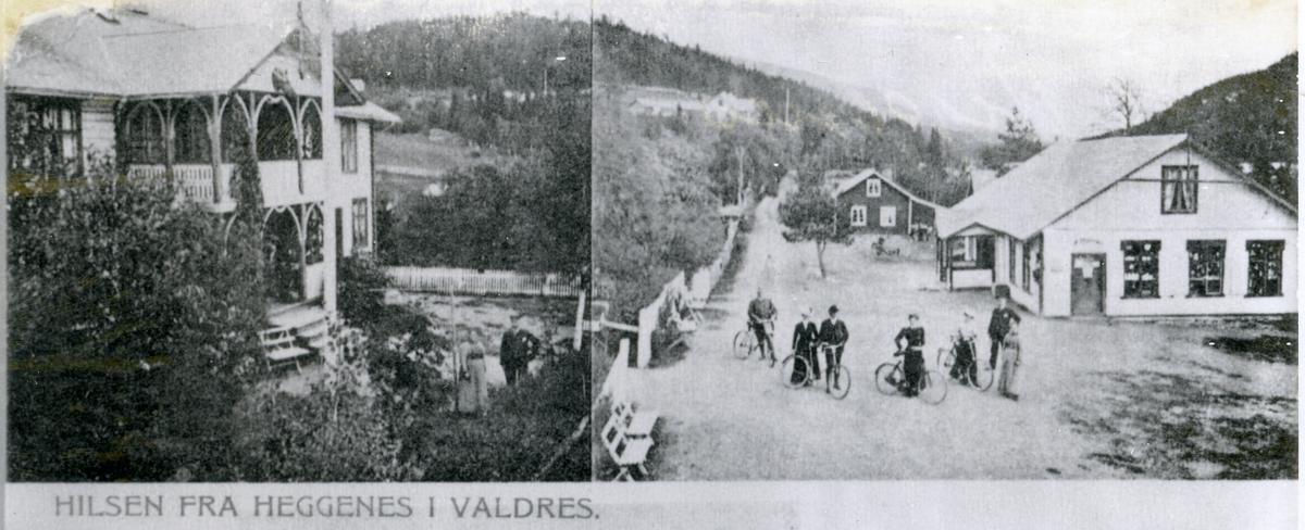 Bygningar i Heggenes, butikk til høgre og muligens Heggenes hotell til venstre. Menneske med sykkel.
