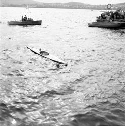 Kanot-SM i Fagervik 1950. Tävlingsbilder, publik, sekretaria