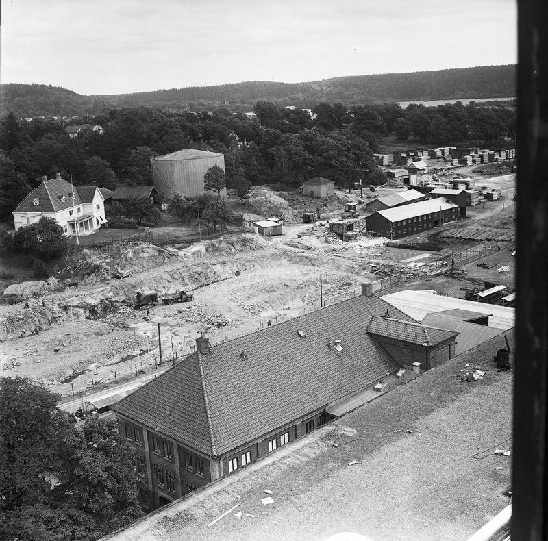 Wargöns AB. Byggnation av PM 5 1959-60. Foto och påförd text av dåvarande ritkontorschefen Ragnar Söderberg.  Den 8/7 1959 var sprängningen klar och platsen för PM 5 låg klar att tagas i bruk av SIAB