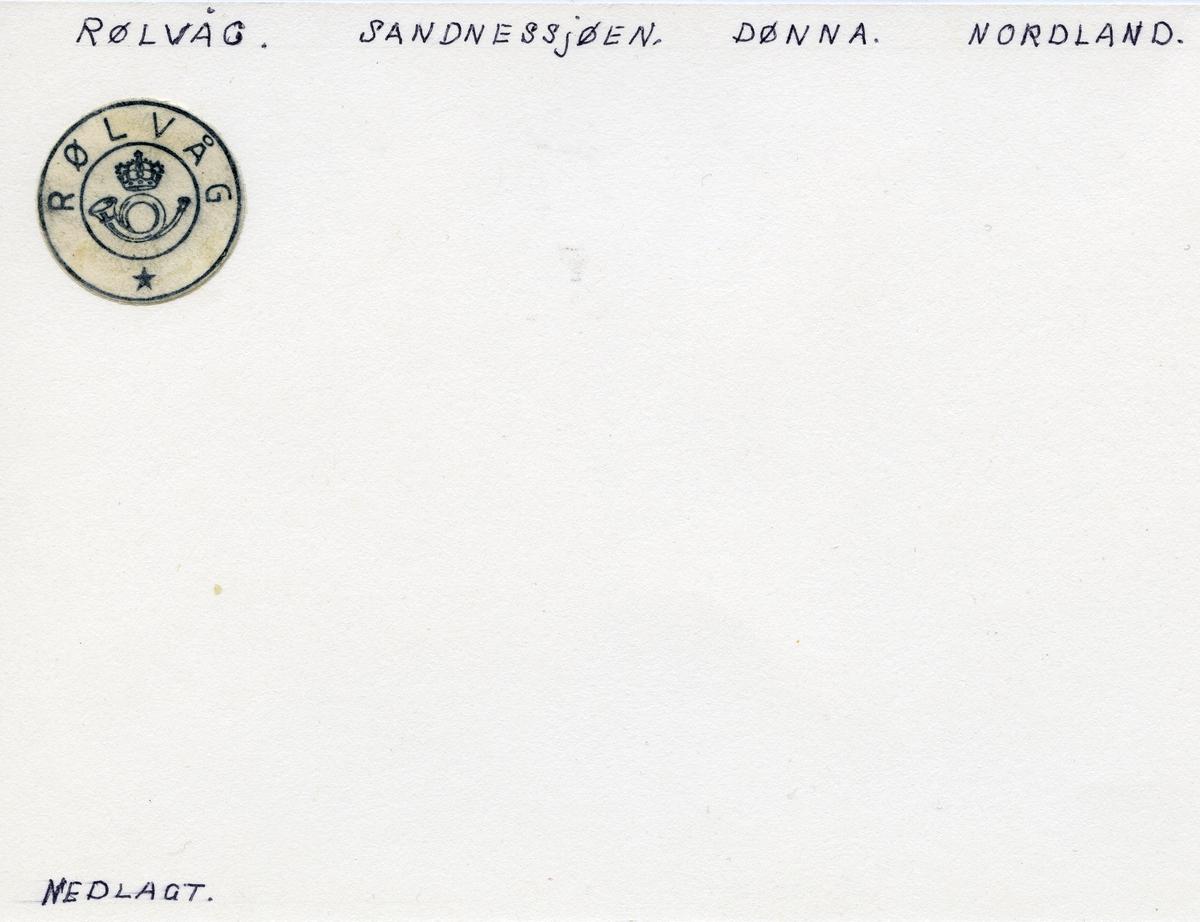 Stempelkatalog Rølvåg, Dønna, Nordland