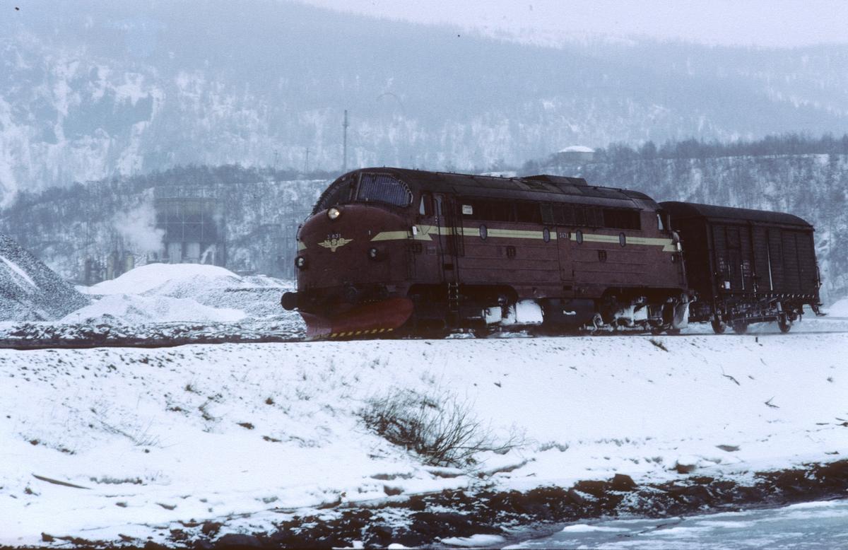Godstog 5792 (Bodø - Trondheim) ankommer Mo i Rana i påsken 1983 med NSB dieselelektrisk lokomotiv Di 3 631 og bare en vogn.