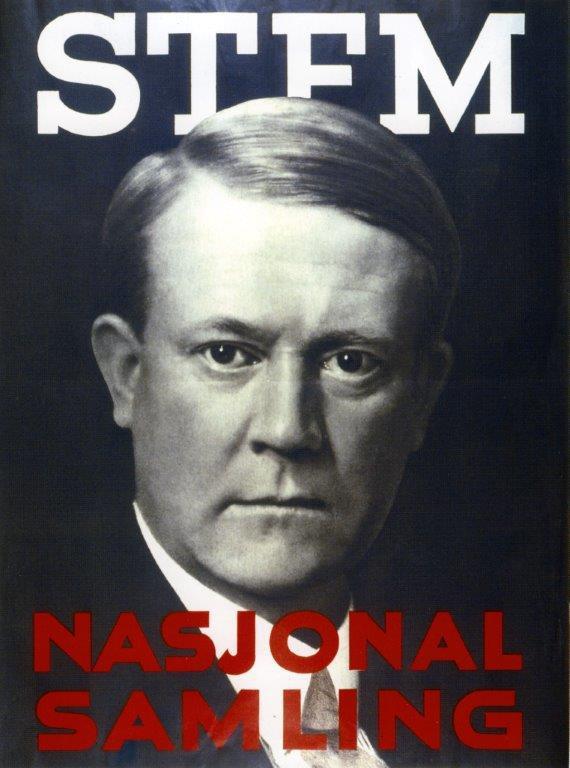 Vidkun Quisling på NS plakat til stortingsvalget i 1933.