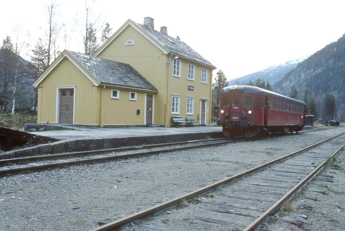 Norefjord stasjon med persontog til Rødberg. NSB dieselmotorvogn BM 86K 15.