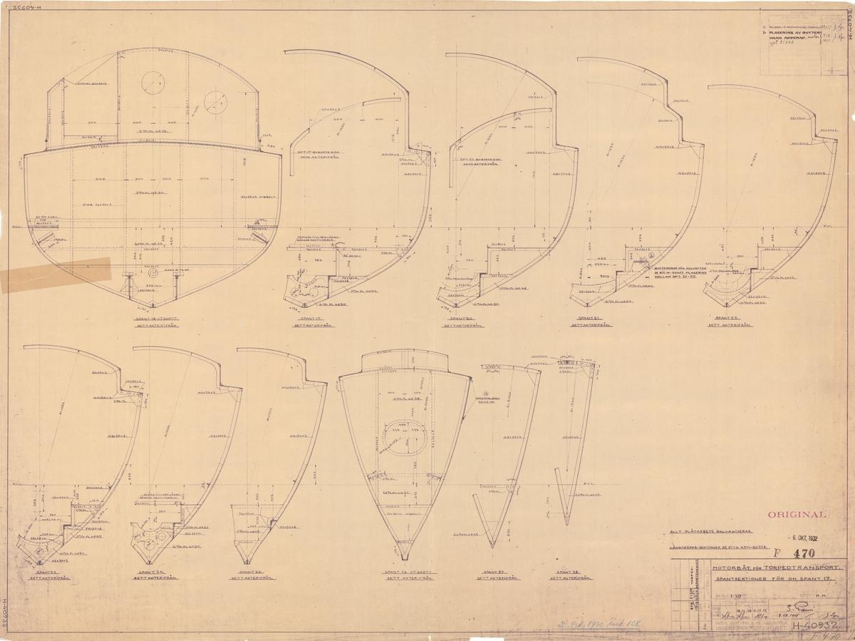Motorbåt för torpedtransport Spantritning för om spant nr 17
