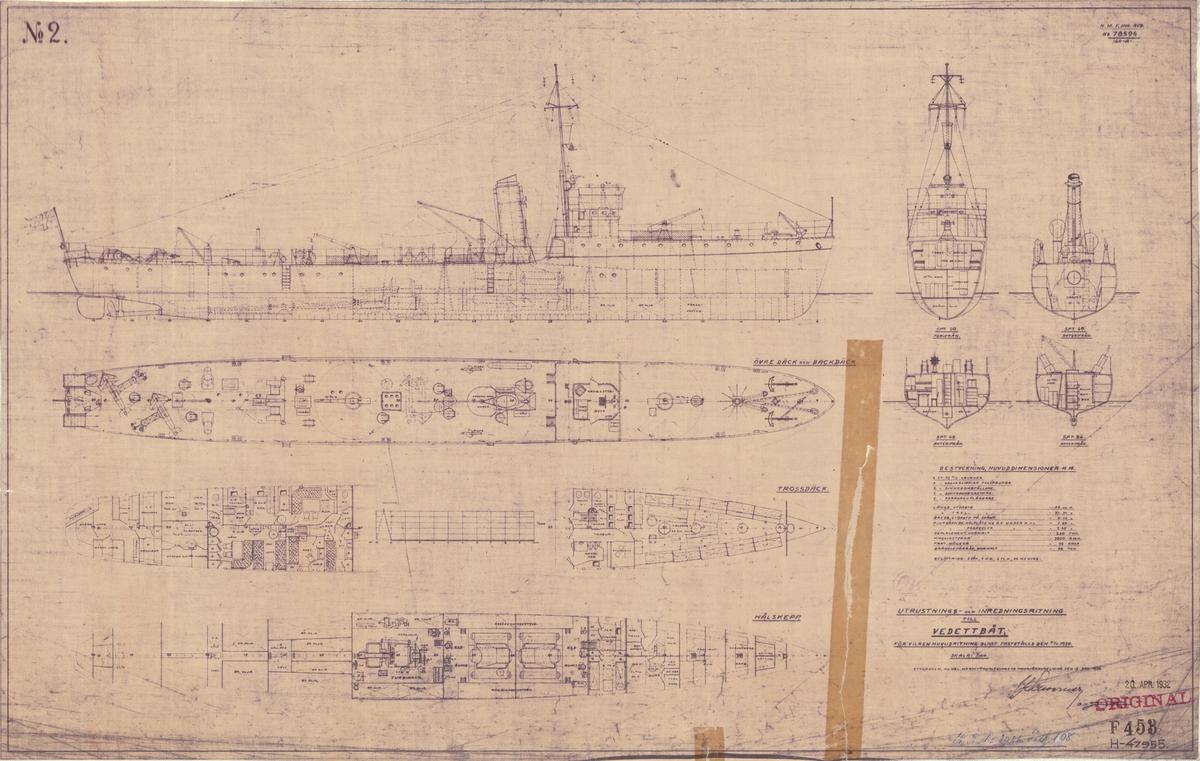 Sammanställningsritning, utrustnings- och inredningritning för vedettbåt som blivit fastställd 21 november 1930
