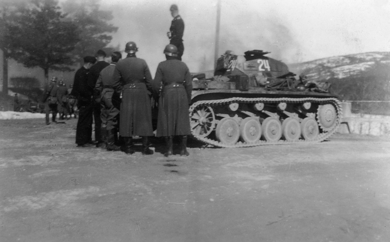 Tysk stridsvogn som deltok ved Kroken, her på Stai. Foto, Øyvind Leonsens billedsamling