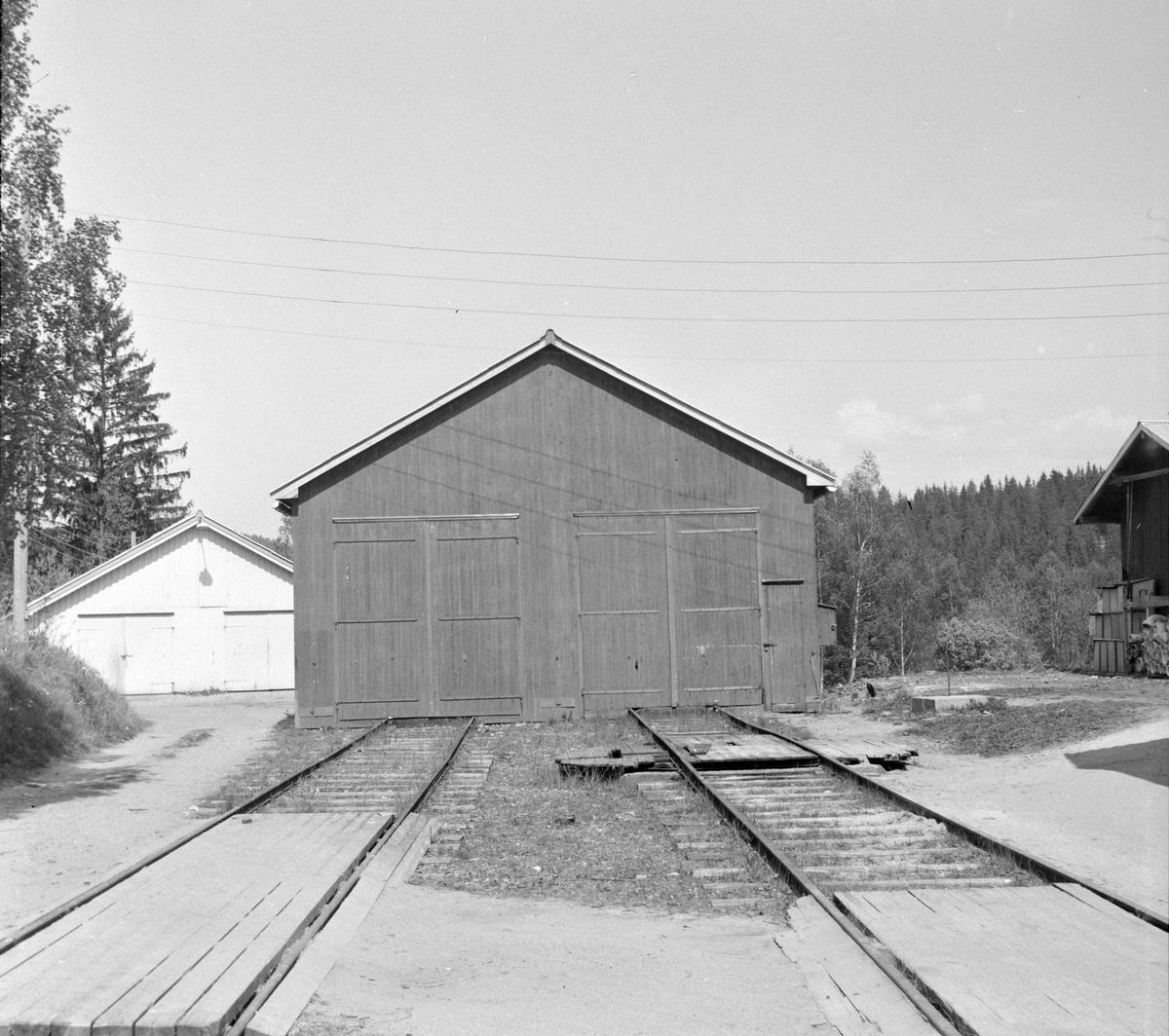 Vognhallen på Solbergfoss på den nedlagte Solbergfossbanen