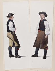 Två män i Rättviksdräkt Akvareller av Emelie von Walterstorf