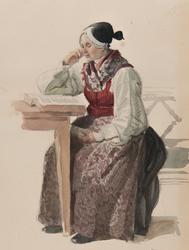 Kvinna i kyrkdräkt, Ljusdahl 1840. Akvarell av J.W Wallander