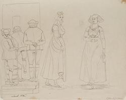 """Lund 1826 af Gustaf Wilh Palm""Skylt Mortens Gatan. Tuschtec"