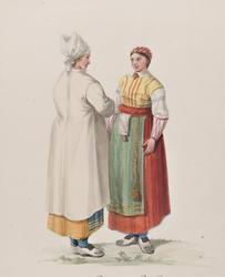 """Dräkt. """"Femmes de la Paroisse de Wingåker""""  Två kvinnor i dr"""