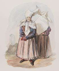 Dräkt. Kvinna fram och bak. Östergötland, Finspång, Skedevi.