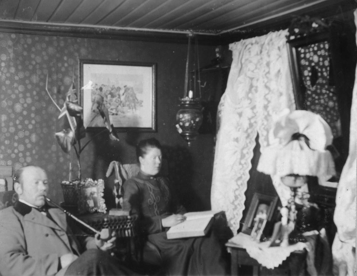 Fra venstre sitter Karl Oluf Ohlsen med en stor pipe i munnen Til  høyre for han Karoline Ohlsen. Hun holder en stor bok på fanget. På bordet mellom de er det et bilde og en blomsterpotte med blomster.På veggen bak henger et bilde. Mellom to vinduer henger det et speil. Et bord med bilder og en lampe står under speilet. Det er hvite blondergardiner for vinduene.