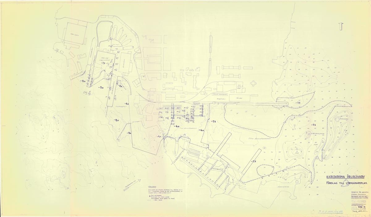 Karta över Karlskrona örlogsvarv med förslag till utbyggnadsplan.