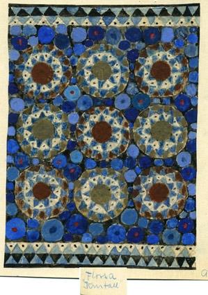 2 st färgskisser till matta i flossa med namnet KRISTALL. Tre rader med tre större cirklar byggda av trekanter mot en botten av mindre rundlar. Rader med trekantsmönster längs kortsidorna. Vattenfärgsmålat på papper limmat på kartong. Signerade originalskisser av Anna Hådell. WLHF-1262:1 - Olika nyanser blått, vitt och lila. Garnprover i kanten. WLHF-1262:2 - Olika nyanser blått, vitt och brunt.