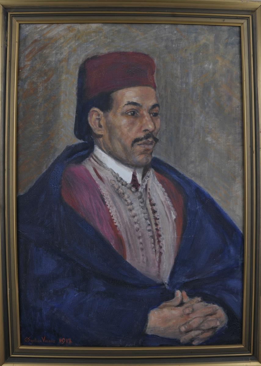 Portrett av ein araber, i tradisjonelt kostyme.  Araberen har sjølv sete modell for Øystein Vesaas.
